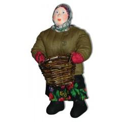 Кукла авторская Галина Масленникова А2-1 Баба с корзиной в телогрейке