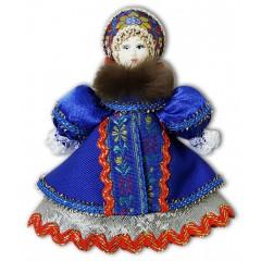 Кукла малая синий наряд, мех, аф42, елочная игрушка