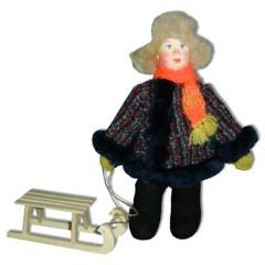 Кукла авторская Галина Масленникова А2-16 Мальчик в зимнем костюме с санками детский костюм