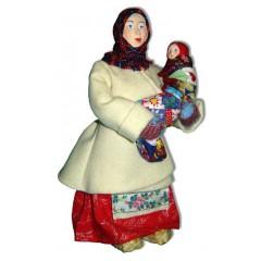 Кукла авторская Галина Масленникова А2-19 Баба в коротайке с ребенком женский костюм