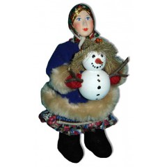 Кукла авторская Галина Масленникова А2-22-1 Девочка-подросток со снеговиком