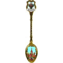 Ложка сувенирная 222-S-21-1 нержавеющая сталь вставка смола Москва Спасская башня