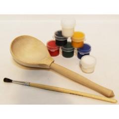Ложка, набор для творчества (ложка, краски, кисточка в упаковке)