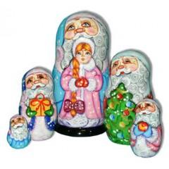 Матрешка Сергиево Посадская 5 мест дед мороз со снегурочкой
