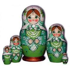 Матрешка Сергиево-Посадская 5 мест кружевной платок Светло Зеленая