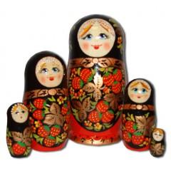 Матрешка Сергиево Посадская 5 мест Хохлома золотая 5858 5 м