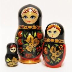 Матрешка Сергиево Посадская 3 места Хохлома золотая 3 м. (5859)