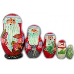 Матрешка 5 мест Дед Мороз с миниатюрой в асс. ПГ