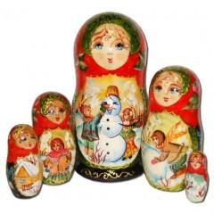 Матрешка 5 мест Снеговик В