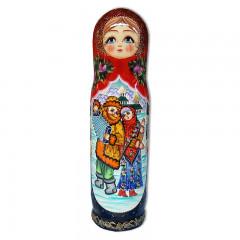 Матрешка Футляр для бутылки Зимний сюжет, под шампанское, 0,7 л.