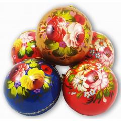 Новый Год и Рождество елочная игрушка шар бол. новогодний в стиле жостово, 80
