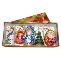 Новый Год и Рождество елочная игрушка набор 5 предметов в коробке Р