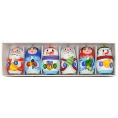 Новый Год и Рождество елочная игрушка Снеговик, Дед Мороз, Снегурочка 6 предметов в коробке