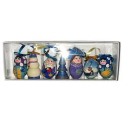 Новый Год и Рождество елочная игрушка набор матрешек в голубом цвете, 7 предметов