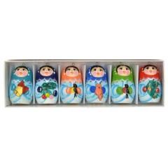 Новый Год и Рождество елочная игрушка матрешки акриловые, набор 6 предметов в коробке