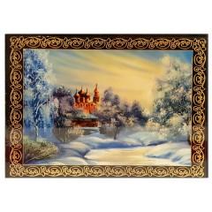 Шкатулка лаковая Церковь зима (наклейка)