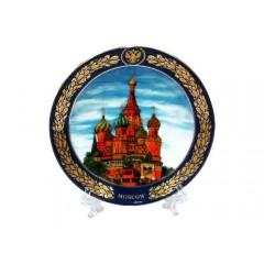 "Тарелка 10-14 Москва акварель ""Храм Василия Блаженного"""