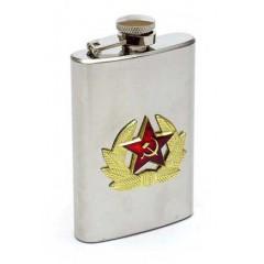 Фляжка металлическая солдатская Кокарда узкая металл