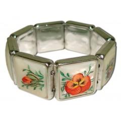 Бижутерия браслет перламутровый, квадратные звенья в стиле Жостово