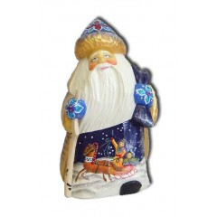 Новый Год и Рождество Дед Мороз в синей шапке, подставка для ручек из полистоуна