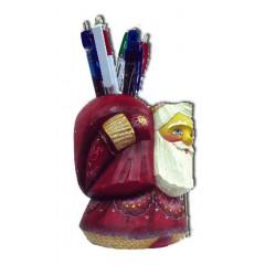 Новый Год и Рождество Дед Мороз с красным мешком, подставка для ручек из полистоуна