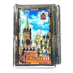 """Книга 04-21К3 блокнот мет. """"Москва. Коллаж. Спасская башня с куполами кремлевских соборов"""" с ручкой"""