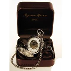 """Часы карманные хромированные, """"Полет"""", """"Русское время"""", механизм 2650 на 17 камнях."""