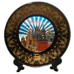 Тарелка 15BL-19K29 фарфоровая D15  Москва ХСС, Спасская башня, ХВБ, цвет черный