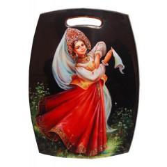 Посуда доска разделочная, Девушка в красном сарафане