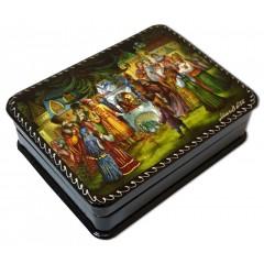 Шкатулка лаковая с элементами ручной росписи сказка о Царе Салтане, горизонтальная