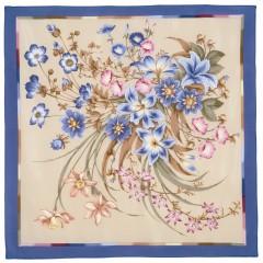 Платок Павловопосадский шелковый крепдешин, 89 x 89 661-14 Чистые росы