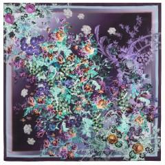 Платок Павловопосадский шелковый крепдешин, 89 x 89 10092-15 Винтаж
