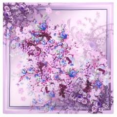 Платок Павловопосадский шелковый крепдешин, 89 x 89 10092-4 Винтаж