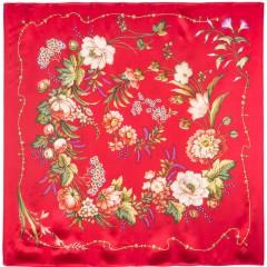 Платок Павловопосадский шелковый атлас, 89 x 89 1455-3 Белый танец
