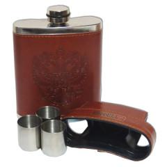 Фляжка металлическая в кожаном чехле с тремя стопками