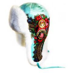 Головной убор шапка меховая Любава, белая бирюза, с матрешкой