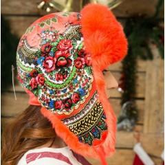 Головной убор шапка меховая Любава, красная, с цветами