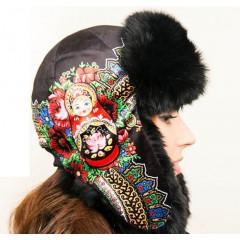 Головной убор шапка меховая Любава, черная, с матрешкой