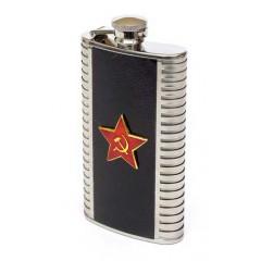 Фляжка металлическая Красная звезда вставка из кожи