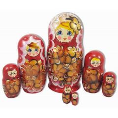 Матрешка 7 мест красная 7-ми кукольная, 22