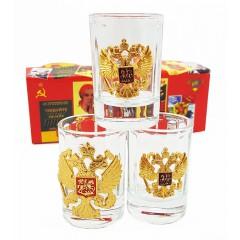Посуда набор стопок с символикой, герб РФ, (3 штуки в наборе)
