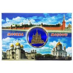 Магнит металлический 02-3-19B-19K11 Москва - коллаж, Храм Василия Блаженного, синяя вставка
