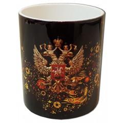 Кружка Герб России на черном фоне с Хохломой