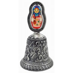 """Колокольчик 038ATN-34 Колок. рельефный металлический, цветная вставка """"Матрешка"""", цвет античное олово"""