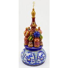 Музыкальный собор - макет Гжель, 21 см., невращающийся, Храм Василия Блаженного