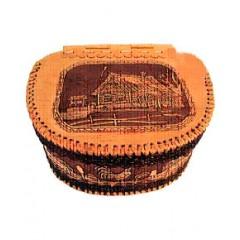 Береста хлебница с крышкой на шарнире, Изба,  23 x 30 x 31