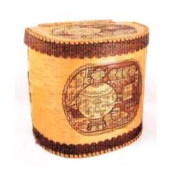 Береста хлебница высокая с крышкой на шарнире, Самовар, 23 x 30 x 31