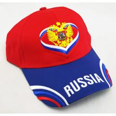 Головной убор Бейсболка Россия, Герб России, крылья, красный верх, синий козырек