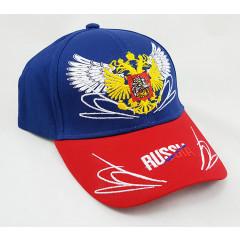 Головной убор Бейсболка Россия, Герб России, крылья, синий верх, красный козырек