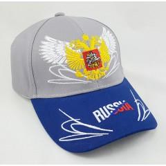 Головной убор Бейсболка Россия, Герб России, крылья, серый верх, синий козырек